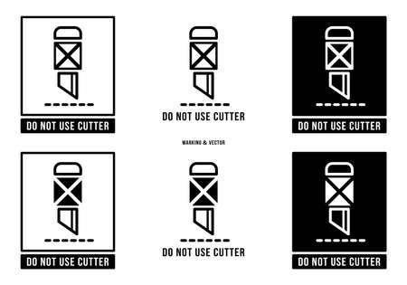 A set of manipulation symbols for packaging cargo products and goods. Marking - Do not use cutter. Vector elements. Stock Illustratie