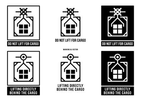 A set of manipulation symbols for packaging products and goods. Marking - Lifting directly behind the cargo! Marking - Do not lift for cargo! Vector elements.