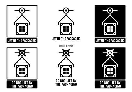 A set of manipulation symbols for packaging products and goods. Marking - Lifti up the packaging! Marking - Do not lift by the packaging! Vector elements.