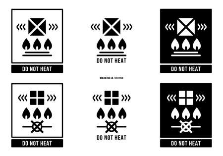 A set of manipulation symbols for packaging cargo products and goods. Marking - Do not heat. Vector elements. Stock Illustratie