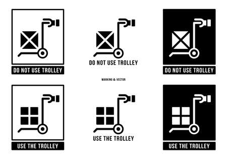 A set of manipulation symbols for packaging cargo products and goods. Marking - Do not use trolley. Marking - Use the trolley. Vector elements.