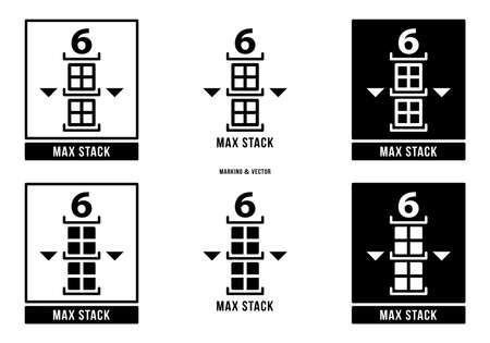 A set of manipulation symbols for packaging cargo products and goods. Marking - Max stack. The maximum number of items when stacking. Vector elements.