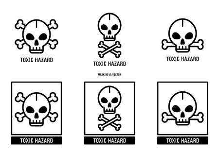 A set of manipulation symbols for packaging cargo products and goods. Marking - Toxic hazard. Vector elements. Stock Illustratie