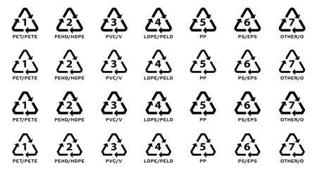 Set of badges for marking plastic. Industrial marking of plastic products. Code system signs for plastic recycling. Vector elements.