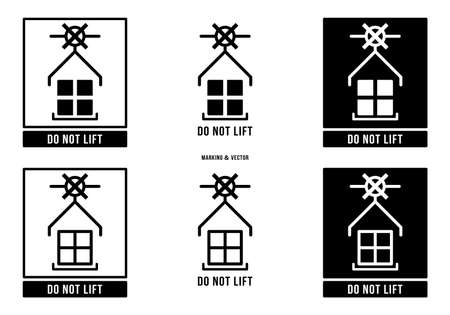A set of manipulation symbols for packaging products and goods. Marking - Do not lift. Vector elements.