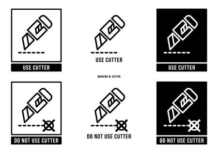 A set of manipulation symbols for packaging cargo products and goods. Marking - Do not use cutter. Marking - Use cutter. Vector elements.