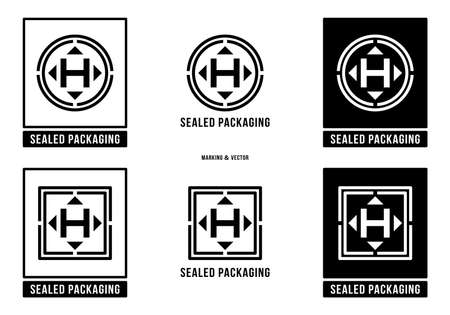 A set of manipulation symbols for packaging cargo products and goods. Marking - Sealed packaging. Vector elements.
