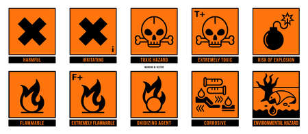 A set of manipulation symbols for packaging cargo products and goods. Marking - Hazard symbols. Vector elements. Stock Illustratie