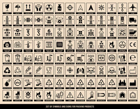 A set of manipulation symbols for packaging cargo products and goods. Marking the box or packaging of products. Vector elements. Stock Illustratie