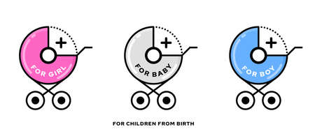 Conceptual stamps for baby products. A symbol indicating that the product is suitable for newborns and safe for children from birth. For girls and boys from 0 months. Stroller and zero plus. Vector Stock Illustratie