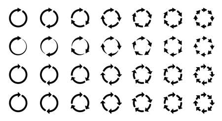 Arrows icons set. The symbol of repetition, reloading along the trajectory of round shapes. Vector elements