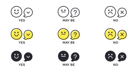 Emotion Icon Pack - Good, Bad, Maybe. Evaluation or rating - good, bad, neutral. Vector emotional emoticons with grade level symbol.