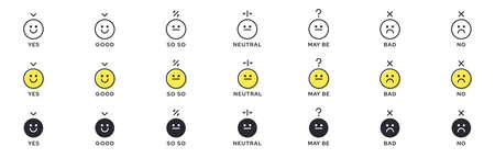 Emotion Icon Pack - Good, Bad, Maybe. Evaluation or rating - good, bad, neutral. Vector emotional emoticons with grade level symbol. Vektorové ilustrace