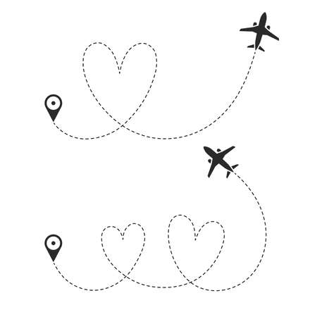 The symbol of love travel. The flight path of the plane from the point of location along the dotted line. Romantic flight route from waypoint with airplane silhouette. Vector elements.