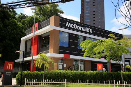 salvador, bahia, brazil - january 6, 2021: facade of a McDonald's store in the Pituba neighborhood in the city of Salvador. *** Local Caption *** Publikacyjne