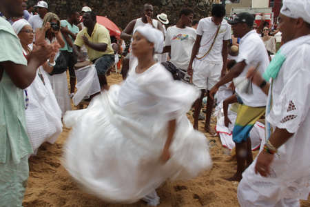 salvador, bahia, brazil - january 1, 2021: adherents of Candoble are seen during a party in honor of the orixa Yemanjá in the neighborhood of Rio Vermelho in Salvador.