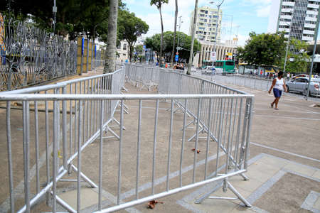 salvador, bahia, brazil - december 14, 2020: protection and isolation grid is seen in the Campo Grande neighborhood in the city of Salvador. Redakční
