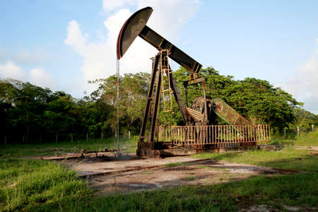 oil exploration machine is seen in Petrobras' field of action in the city of Mata de Sao Joao.