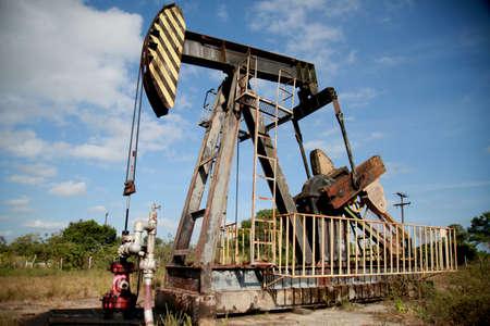 mata de sao joao, bahia / brazil - october 15, 2020: oil exploration machine is seen in Petrobras' field of action in the city of Mata de Sao Joao.