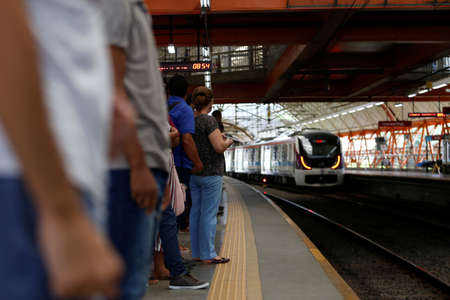 salvador, bahia / brazil - june 17, 2019: Passengers are seen during boarding at the Access North Metro Station in the city of Salvador. Sajtókép