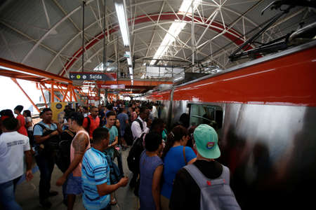 salvador, bahia / brazil - june 17, 2019: Passengers are seen during boarding at the Access North Metro Station in the city of Salvador.