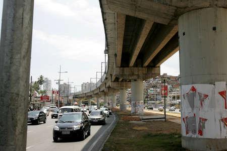 salvador, bahia / brazil - december 11, 2012: pillar supporting the tracks of the subway in the city of Salvador is seen on Avenida Mario Leal Ferreira. Sajtókép