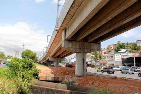 salvador, bahia / brazil - december 11, 2012: pillar supporting the tracks of the subway in the city of Salvador is seen on Avenida Mario Leal Ferreira.