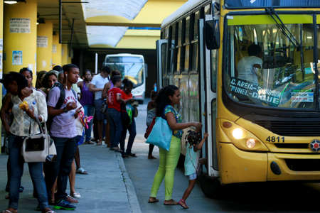 salvador, bahia / brazil - january 12, 2015: Passengers are seen next to buses at Lapa Station in Salvador city.