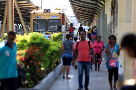 salvador, bahia / brazil - september 17, 2016: passengers are seen at the train station in the neighborhood of Calcada in the city of Salvador.