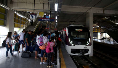 salvador, bahia / brazil - march 25, 2019: passengers are seen during boarding at the airport station of the subway of the city of Salvador.