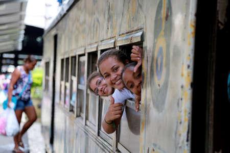 salvador, bahia / brazil - april 15, 2015: passengers are seen inside a train car in the suburb in the city of Salvador. Sajtókép