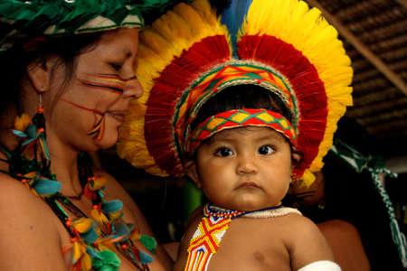 porto Seguro, bahia / brazil - april 13, 2006: Pataxo Indians are seen in the Jaqueira village in the city of Porto Seguro, in southern Bahia.
