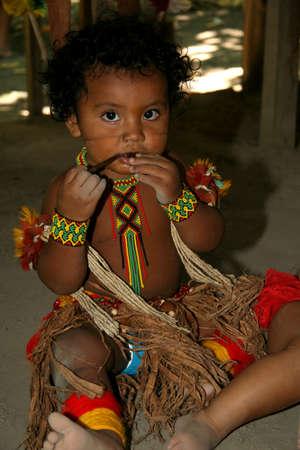 porto Seguro, bahia / brazil - february 21, 2008: pataxo indigen child is seen in the Jaqueira village in the city of Porto Seguro, in the south of Bahia.