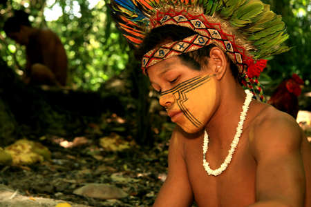 porto Seguro, bahia / brazil - april 14, 2009: Pataxo Indians are seen in the village Jaqueira in the city of Porto Seguro, in the south of Bahia.