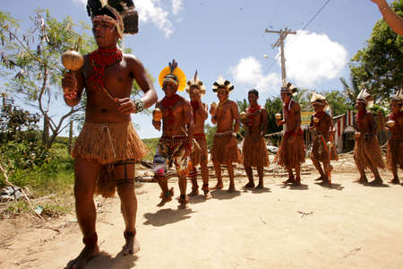 porto Seguro, bahia / brazil - december 20, 2010: Pataxo Indians are seen during a protest in a village in the rural area of the city of Porto Seguro, in southern Bahia.