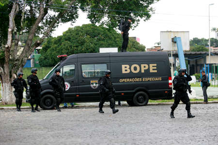 salvador, bahia / brazil - august 2, 2016: Military personnel from the Special Operations Battalion (BOPE) perform simulation of hostage regeneration operations in the city of Salvador. Editorial