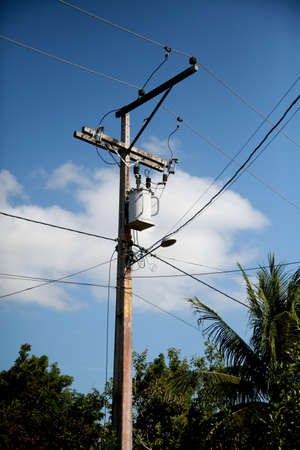electric power transformer is seen on a pole in the rural area of the city of Mata de Sao Joao.