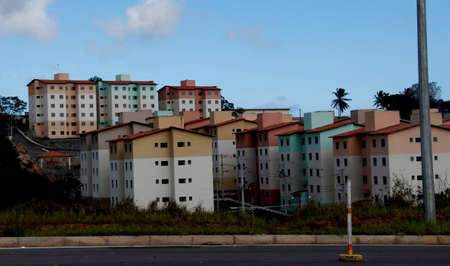 salvador, bahia / brazil - february 7, 2013: view of residence in condominium of popular housing made government program of housing for low-income people in the city of Salvador.