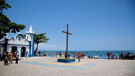 mata de sao joao, bahia / brazil - october 4, 2020: view of the church of Sao Francisco de Assis in the Praia do Forte region in the city of Mata de Sao Joao.