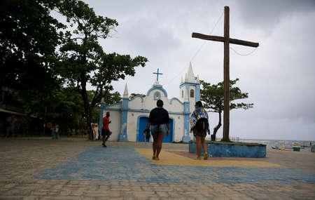 mata de sao joao, bahia / brazil - september 23, 2020: view of the Sao Francisco De Assis Church in Praia do Forte, in the municipality of Mata de Sao Joao.