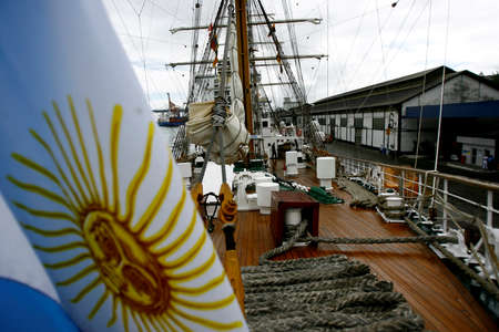 salvador, bahia / brazil - august 23, 2014: members of the brazilian navy music band are seen during the reception of the frigate ARA libertad with an argentine flag in the port of Salvador.