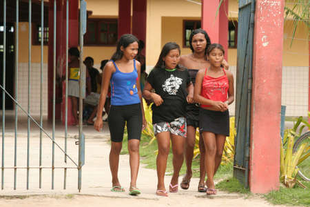 salvador, bahia / brazil - april 13, 2009: Pataxo Indians are seen at an indigenous school in the Barra Velha Village in the municipality of Porto Seguro. Éditoriale