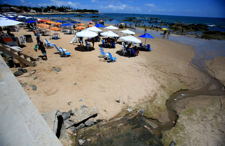 salvador, bahia / brazil - october 11, 2019: Sewerage is seen pouring into Itapua Beach in the city of Salvador. Sajtókép
