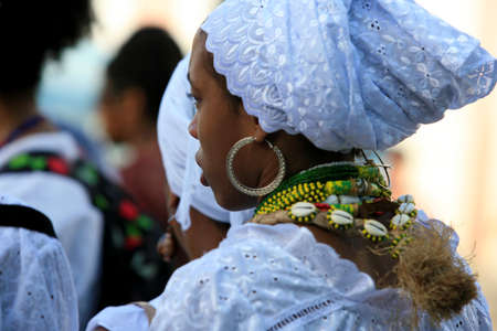salvador, bahia / brazil - may 21, 2014: Candomble supporters are seen during protest at Pelourinho in Salvador city.