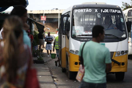 salvador, bahia / brazil - september 18, 2017: Minibus of the complementary public transport system between the cities of Lauro de Freitas and Salvador is seen in the Sao Cristovao neighborhood.