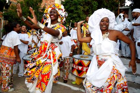 salvador, bahia / brazil - january 15, 2016: Members of Banda Aie, from the cultural group Ile Aiye are seen during the wind in the Candomble Hunkpane Savalu Vodum Zo Kwe terreiro in the Curuzu neighborhood in Salvador. *** Local Caption ***.
