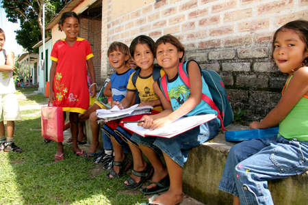 porto Seguro, bahia, brazil - april 13, 2009: Indians of the Pataxo ethnicity are seen in an indigenous school in the Barra Velha Indian village in the municipality of Porto Seguro.