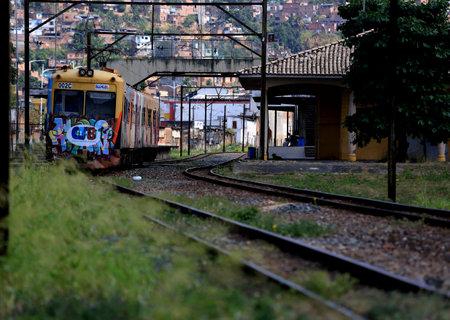 salvador, bahia / brazil - november 23, 2015: suburban train is seen passing through the Lobato neighborhood in the city of Salvador.