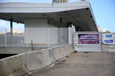 Salvador, Bahia, Brazil - July 20, 2021: View of a BRT station under construction on Avenida ACM in the city of Salvador.