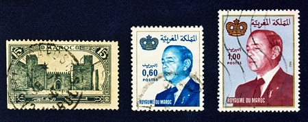 Three used postage stamps from Morocco. Depicted on the left old city of Fes  Fez, circa 1917 when Morocco was French protectorate,the other two stamps show the king of Morocco Kingdom Hasan II,issued in 1981 and 1982.